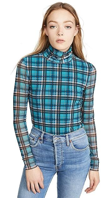La Vie Rebecca Taylor Long Sleeve Plaid Mesh Jersey Top