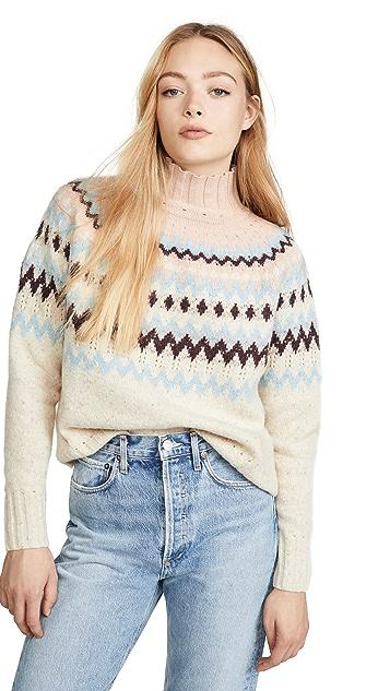 La Vie Rebecca Taylor Fair Isle Turtleneck Pullover