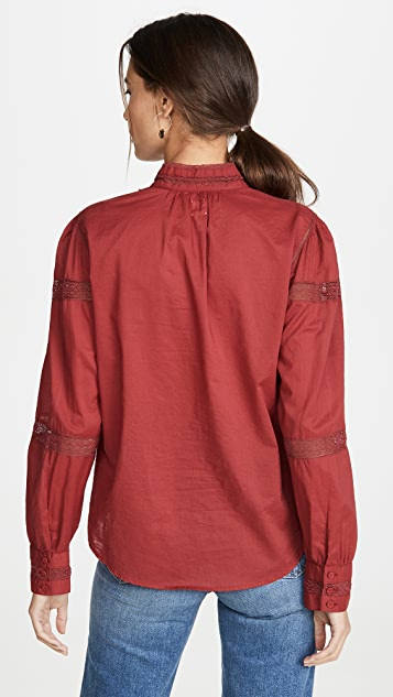 La Vie Rebecca Taylor Long Sleeve Voile Lace Top