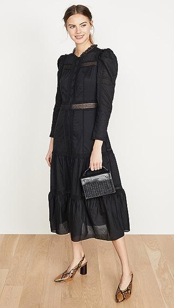 La Vie Rebecca Taylor Long Sleeve Voile Lace Dress