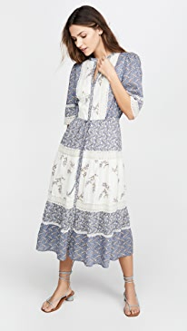 Long Sleeve Woodblock Lace Dress
