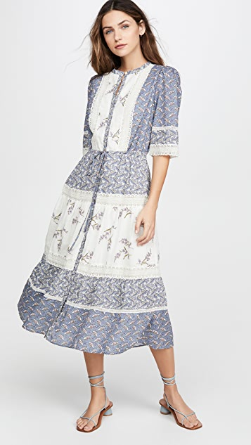 La Vie Rebecca Taylor Long Sleeve Woodblock Lace Dress