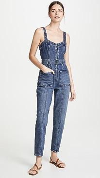 Sleeveless Dry Indigo Jumpsuit
