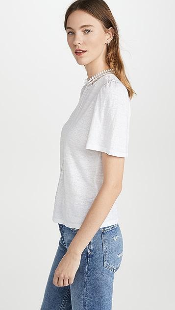 La Vie Rebecca Taylor Short Sleeve Lace Linen Jersey Tee
