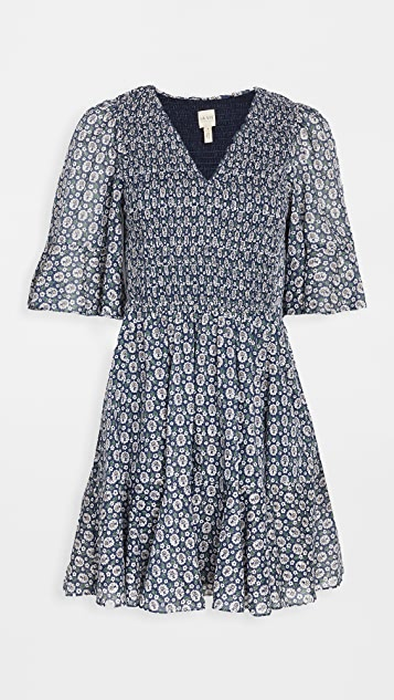 La Vie Rebecca Taylor Short Sleeve Petula Smocked Dress