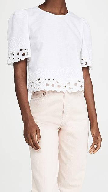 La Vie Rebecca Taylor Short Sleeve Ella Embroidery Top