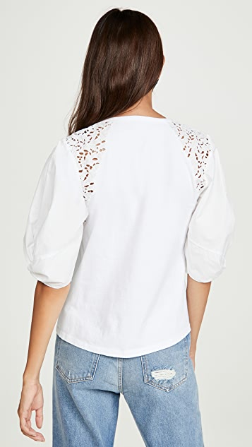 La Vie Rebecca Taylor Short Sleeve Ivy Embroidery Top
