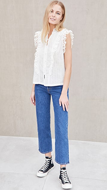La Vie Rebecca Taylor Sleeveless Palm Embroidery Top