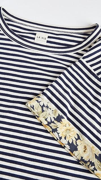 La Vie Rebecca Taylor Short Sleeve Striped Jersey