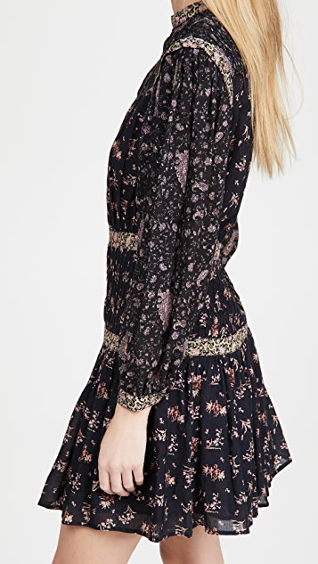 La Vie Rebecca Taylor Long Sleeve Print Mix Dress