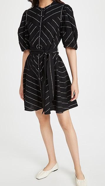 La Vie Rebecca Taylor Short Sleeve Satin Stripe Dress