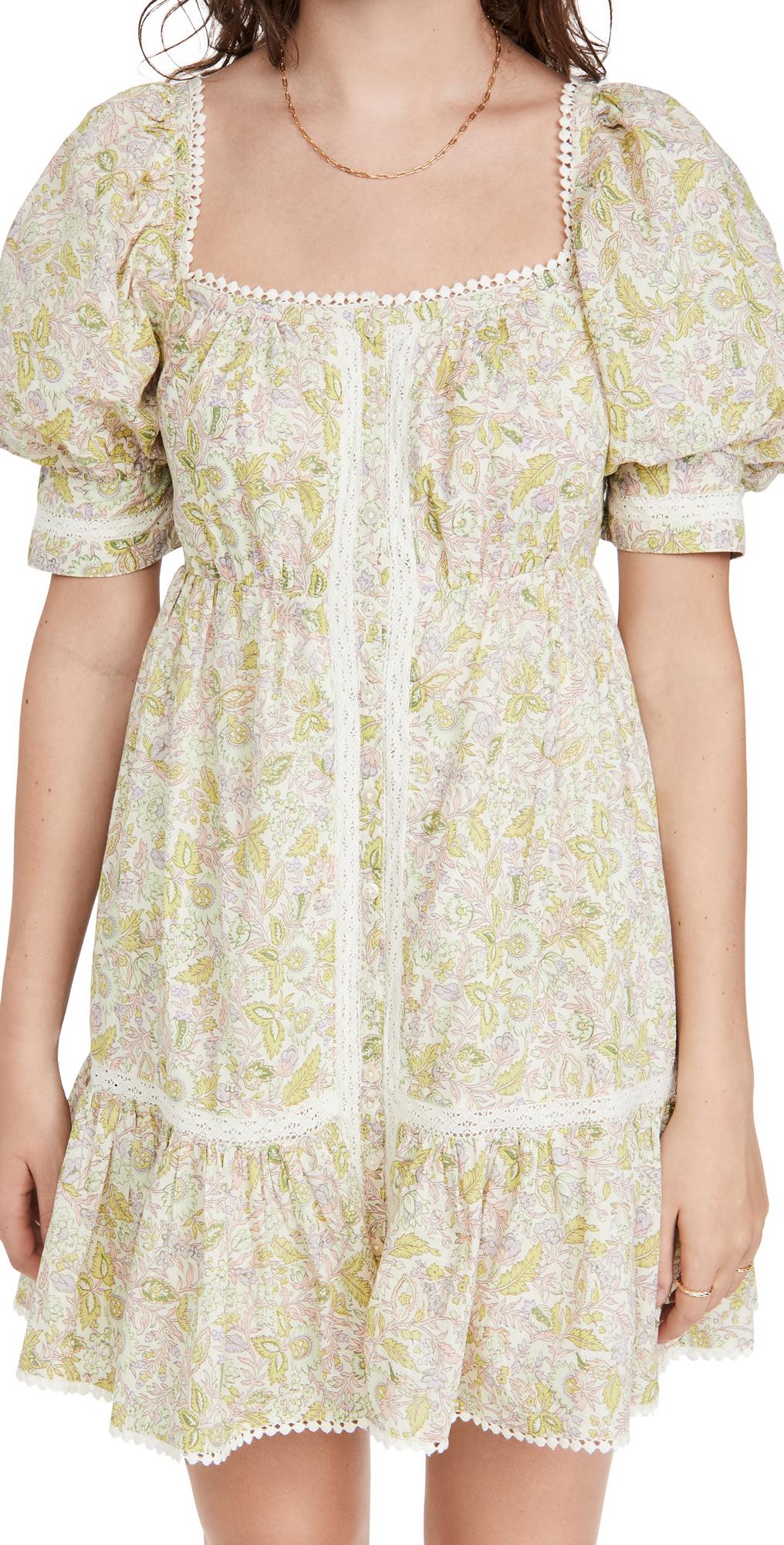 Square Neck Puff Sleeve Mini Dress