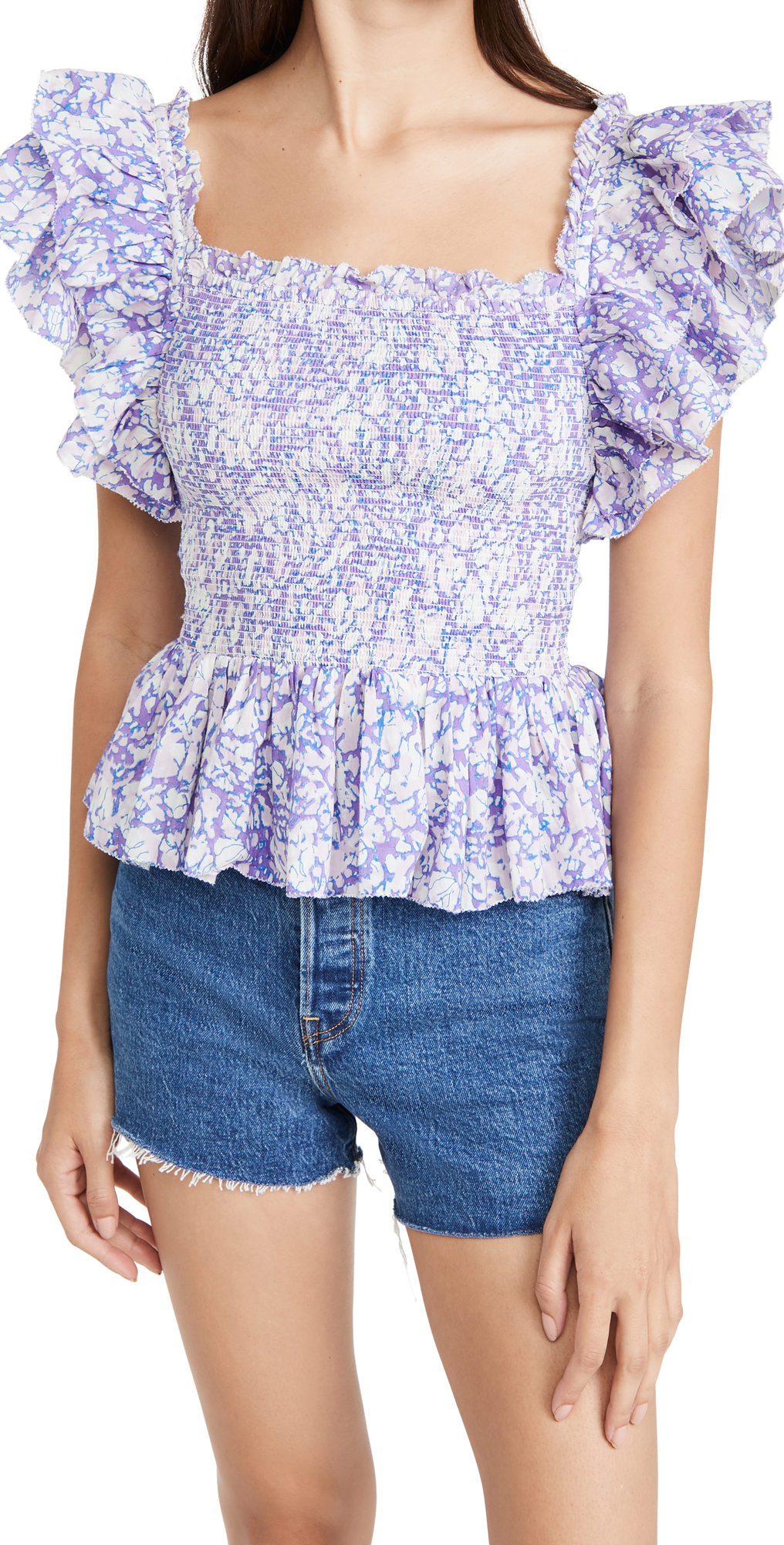 Smocked Ruffle Square Neck Top