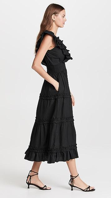 Love The Label Black Poplin V Neck Ruffle Midi Dress