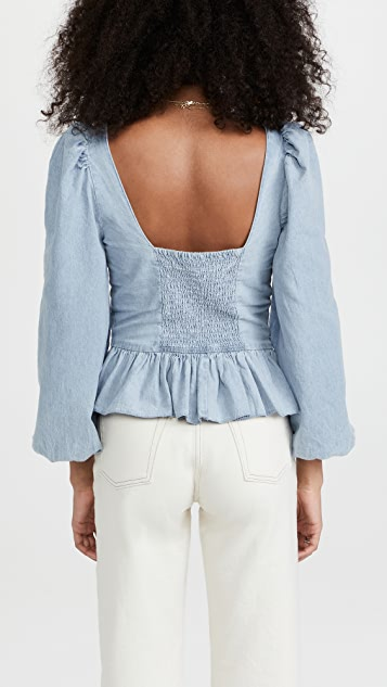 Love The Label Denim Puff Sleeve Top