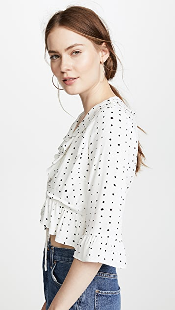 Lost + Wander Dottie Ruffle Tie Top