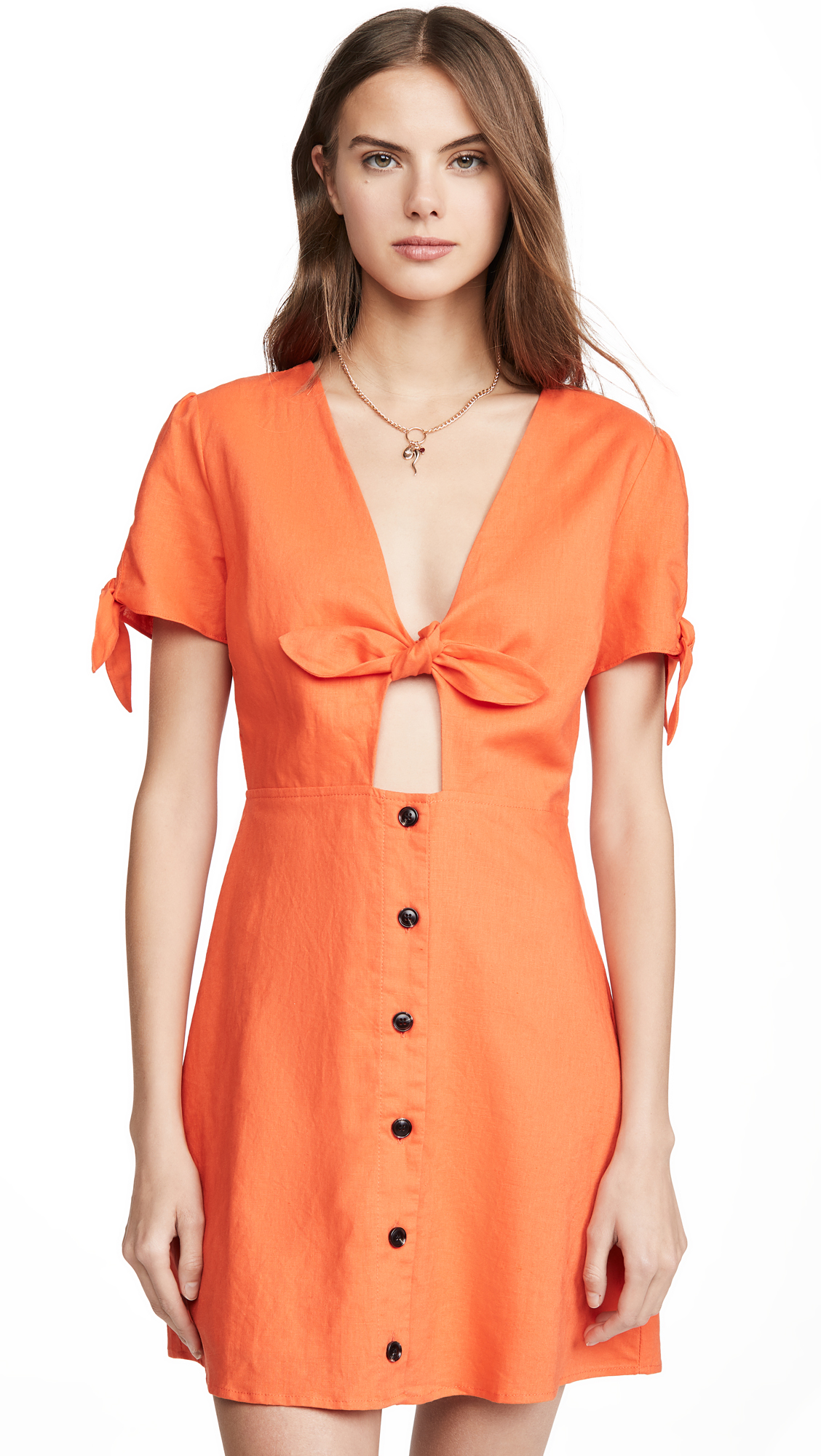Lost + Wander Papaya Mini Dress