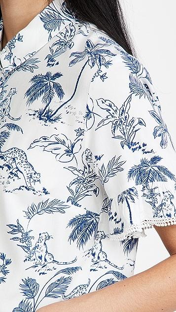 Lost + Wander Blue Palm Nights Shirt