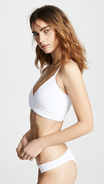 Maaji Whisper White Cross Crop Bikini Top