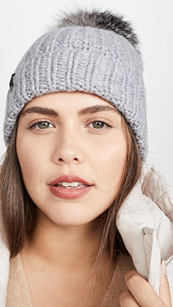 Mackage Beanie Hat With Fur Pom