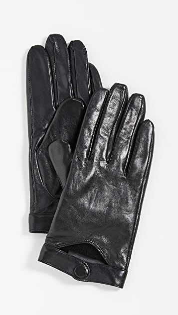 Mackage Leather Gloves With Snap At Wrist