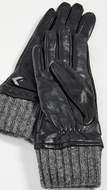 Mackage Fia Leather Gloves with Ribbed Cuff