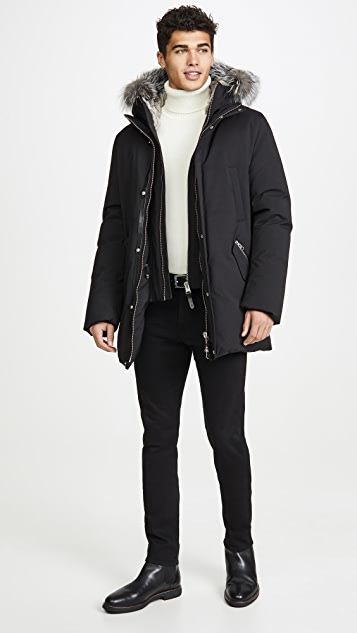Mackage Down Coat with Removable Hooded Bib & Silverfox Fur