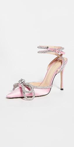 MACH & MACH - 双水晶蝴蝶结高跟鞋