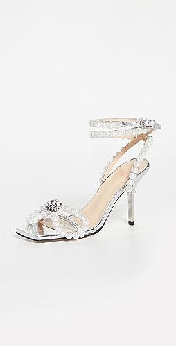 MACH & MACH - Pearl Bow Square Toe Sandals