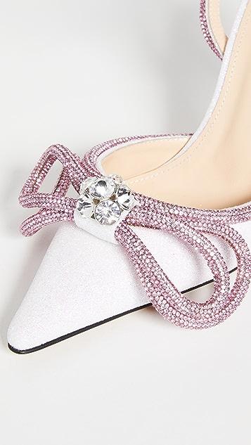 MACH & MACH 白色亮片双蝴蝶结高跟鞋