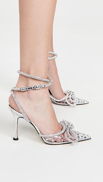 MACH & MACH 双蝴蝶结水晶装饰高跟鞋