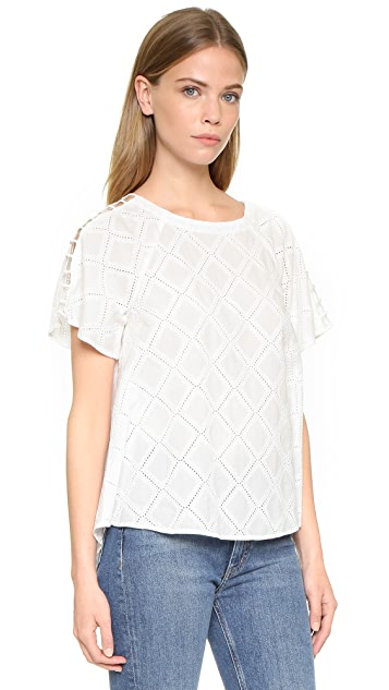 Madewell Embroidered Lattice Top