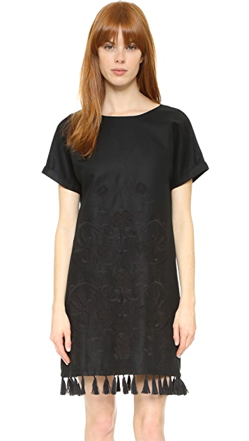 Madewell Embroidered Tassel Tee Dress