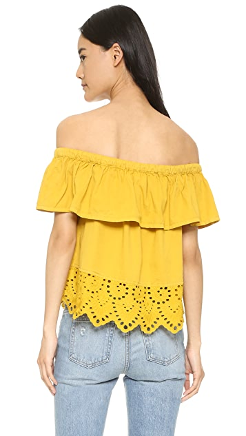 Madewell Eyelet Balcony Off Shoulder Top