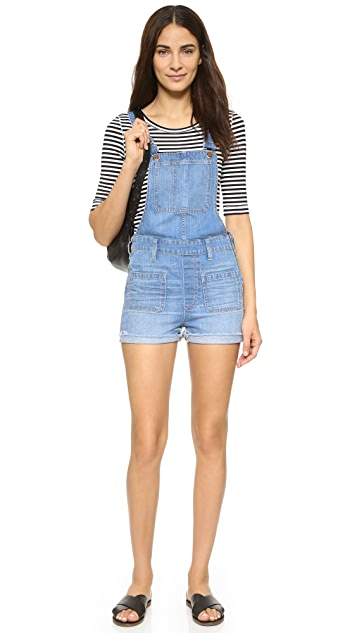 Madewell Short Overalls with Patch Pocket