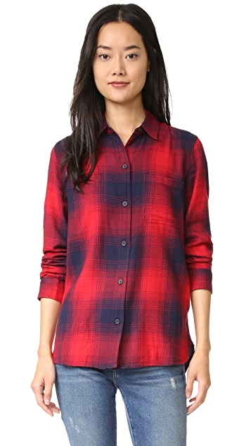 Madewell Ex BF Shirt in Red Blue Plaid