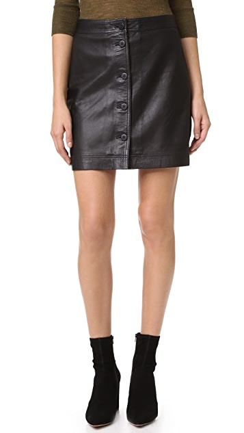Madewell Button Front Leather Skirt