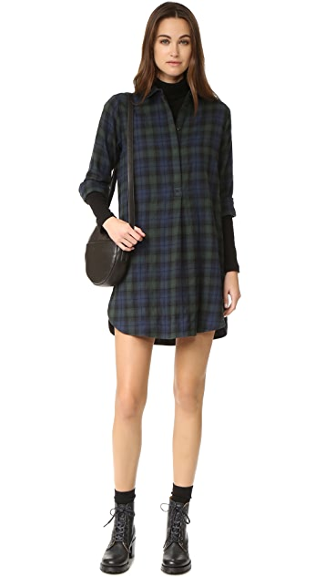 Madewell Plaid Flannel Side Button Dress