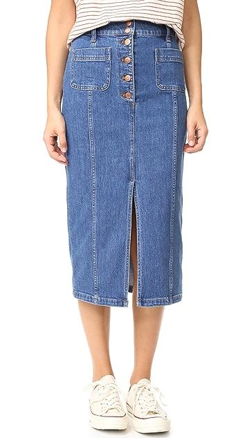 f522d5c11e Madewell High Slit Jean Skirt | SHOPBOP