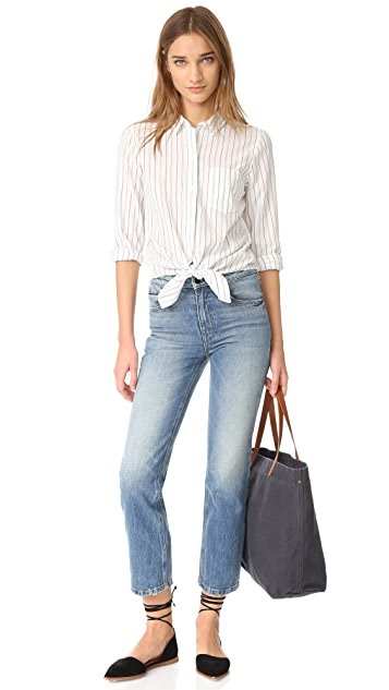 Madewell Long Sleeve Tie Front Shirt