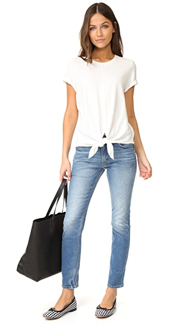 Madewell Levine Solid Tie Front Top