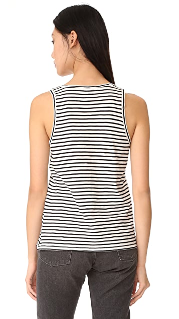 Madewell Whisper Cotton Scoop Tank in Wentworth Stripe