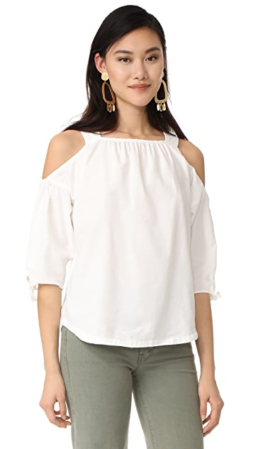 090081a07a31 Madewell Cold Shoulder Top With Tie Sleeves | SHOPBOP