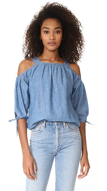 Madewell Cold Shoulder Top With Tie Sleeves