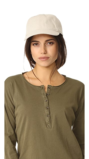 Madewell Linen Baseball Hat with Leather Trim - Canvas