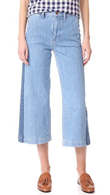 Madewell Wide Leg Crop Jeans with Tux Stripe