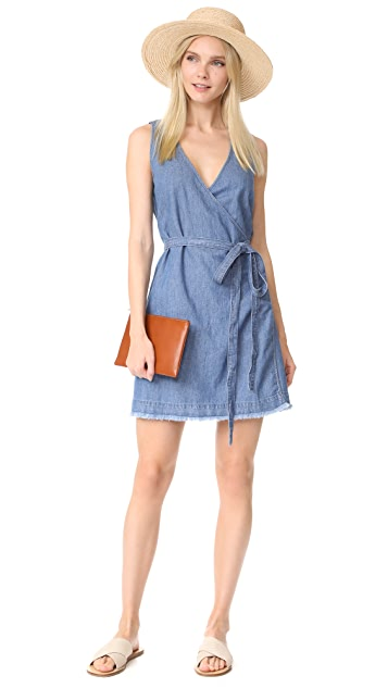 Madewell Denim Raw Hem Wrap Dress