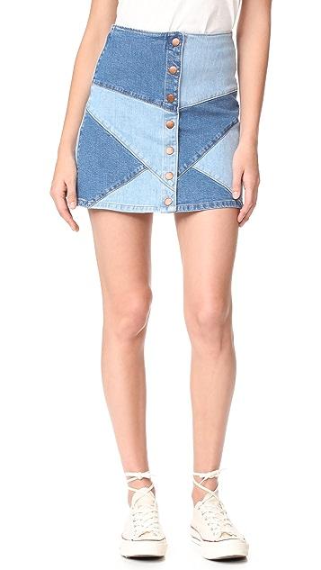 Madewell Pieced Jean Skirt