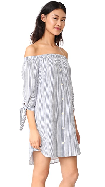 Madewell Striped Off Shoulder Shirtdress