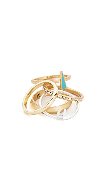Madewell Turquoise Enamel Ring Stack